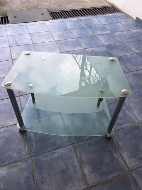 Glass TV unit on castors