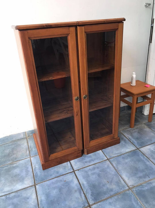 Pair of handmade dark pine varnished 2 shelf cabinets