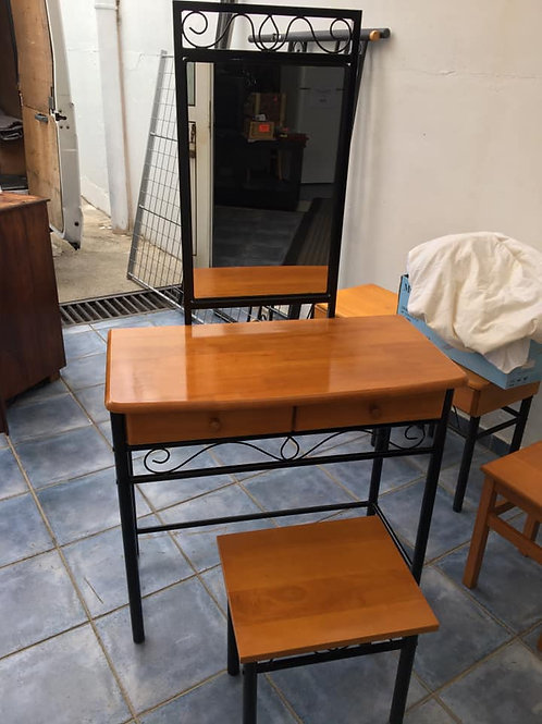 Dressing table and stool in wood and metal