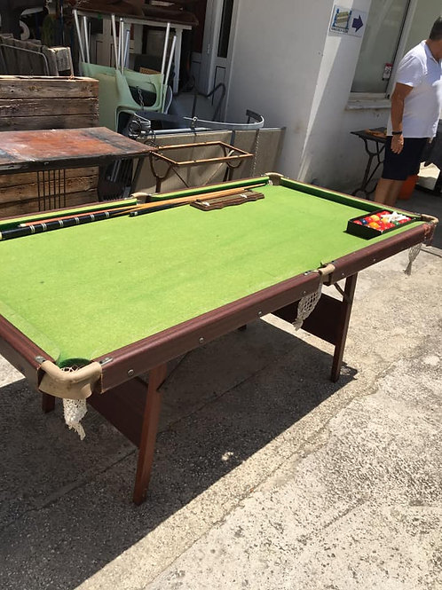 Small John  Jaques snooker table complete with balls, scoreboard and cues