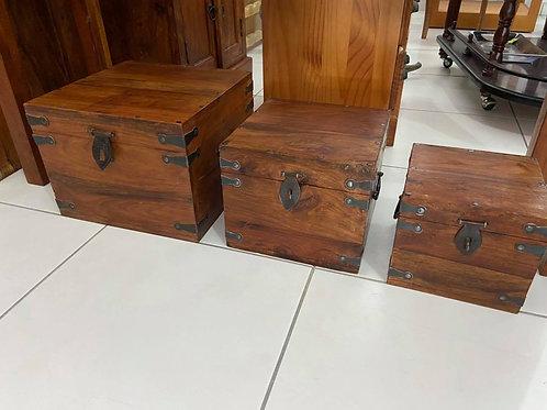 3 beautiful Indian wood hinged boxes