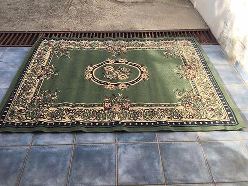 Green patterned rug