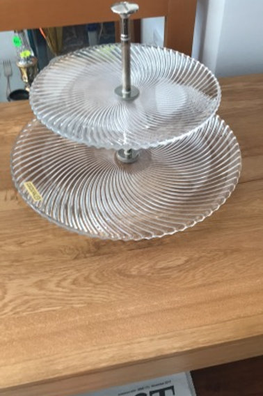Two tier glass cake stand