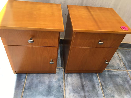Two wood veneer bedsides