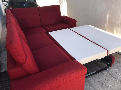 Large red fabric corner sofa bed