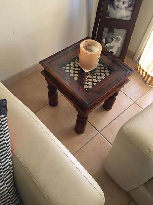 Two small indian wood and lattice side tables