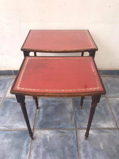 Nest of tables with leather inlay and glass top