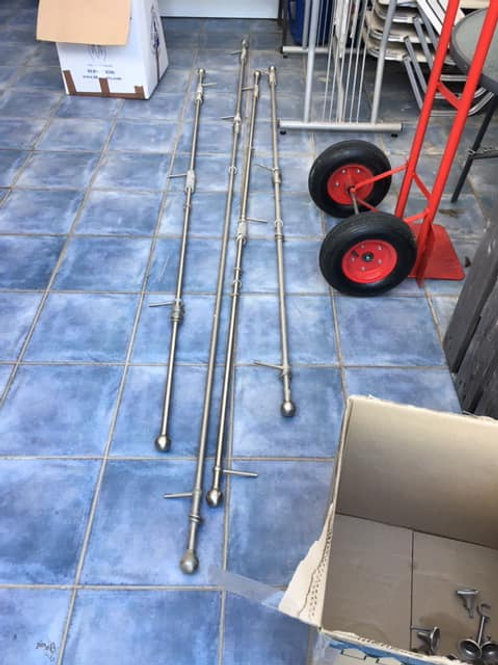 Three stainless steel curtain rails