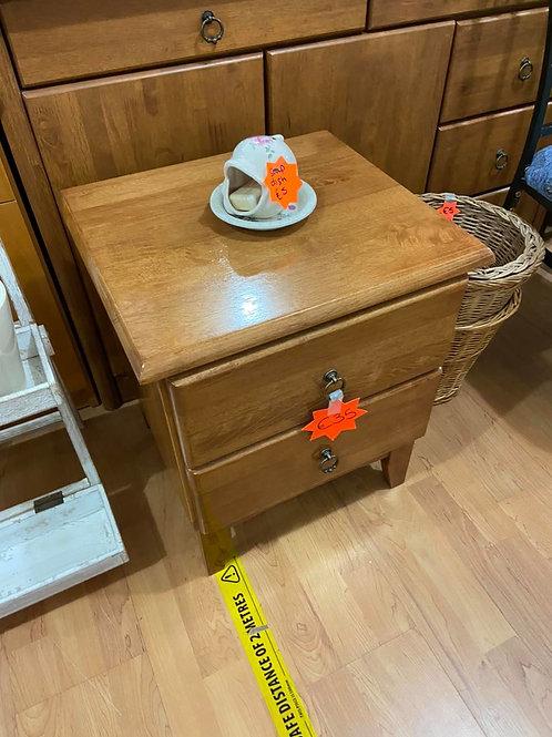 Light coloured quality wood 2 drawer bedside