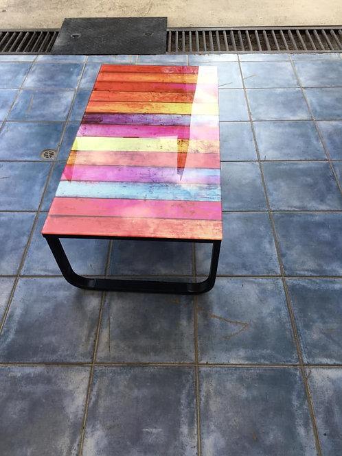 Unusual coloured heavy glass coffee table