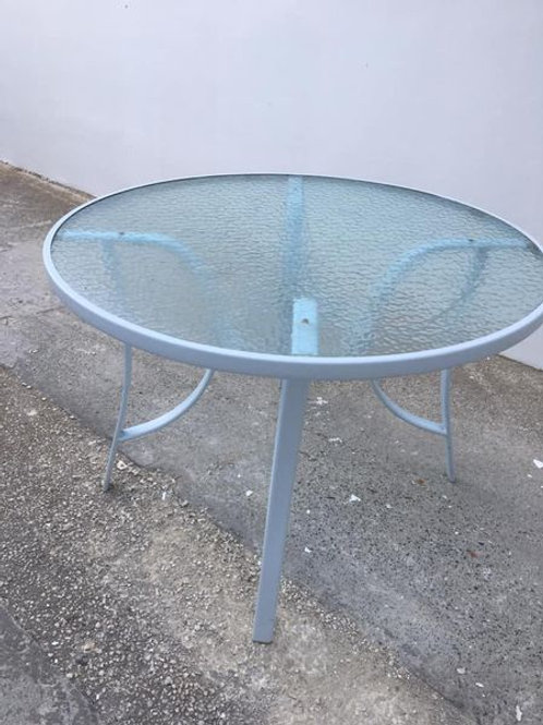 White aluminium and glass round outdoor table