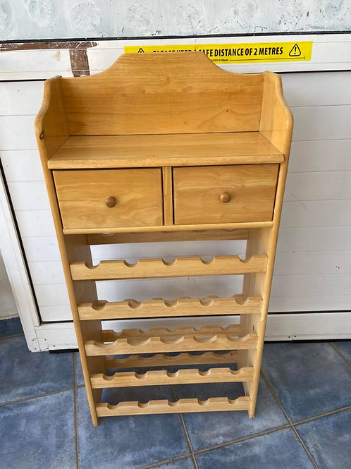 Pine wine stack with a shelf and 2 drawers