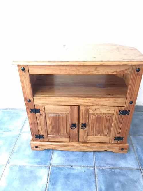 Mexican pine double door TV cabinet