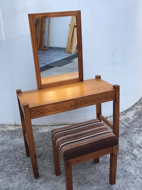 Pine dressing table with 2 drawers with attached mirror and stool