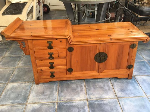 Unusual Chinese style antique pine sideboard with 4 drawers and cupboard