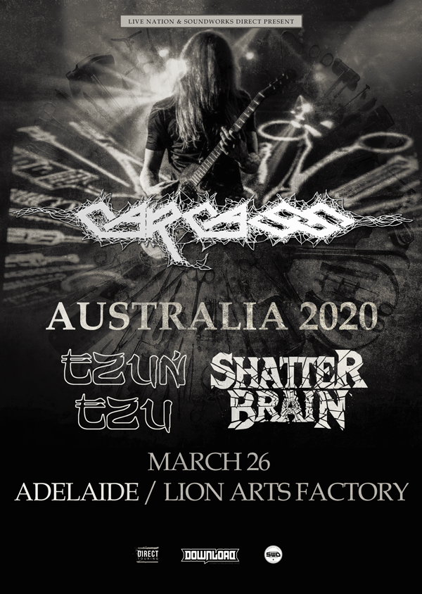 SHATTER BRAIN ANNOUNCED AS SUPPORT BAND FOR CARCASS IN ADELAIDE!