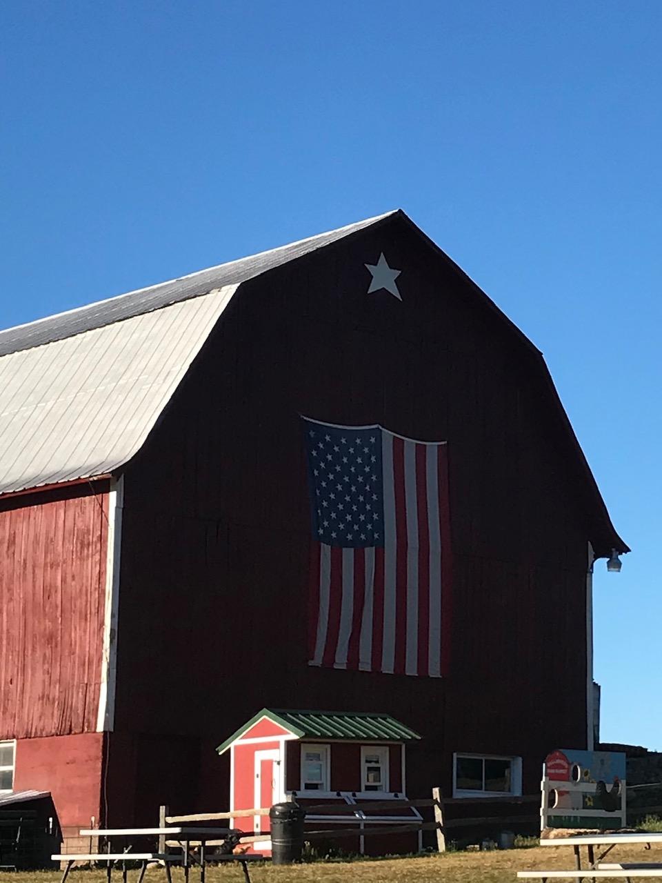 Barn with USA flag