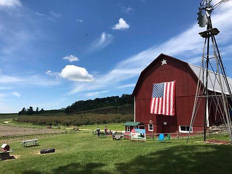 Farm scene with USA flag