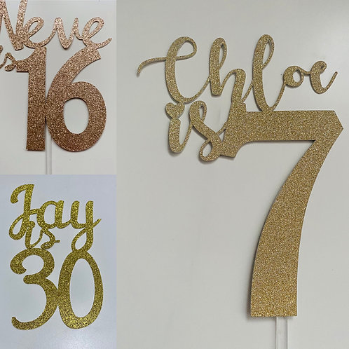Personalised Glitter Age Cake Toppers