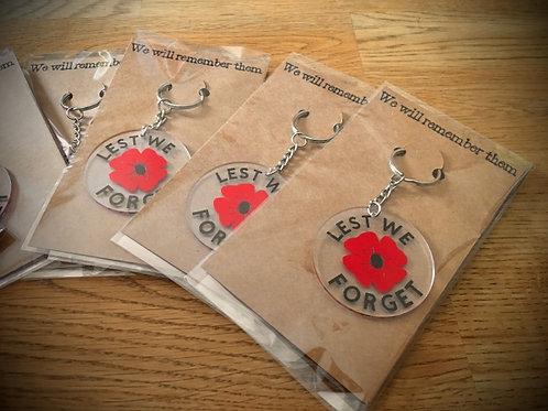 Remembrance Day Poppy Keyrings