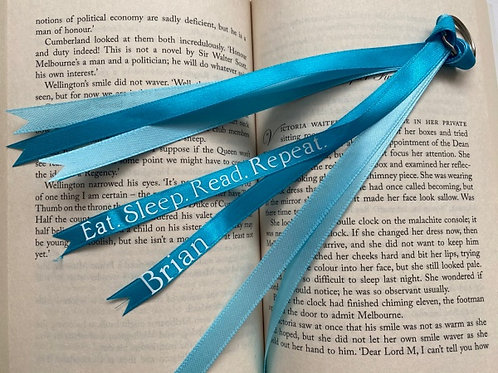 Personalised Blue Ribbon Bookmark