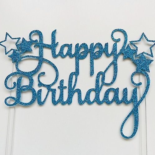 Happy Birthday Glitter Cake Toppers