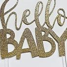 Glitter baby shower cake topper gold