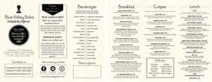 To-go menu brochure for Blue Valley Bistro