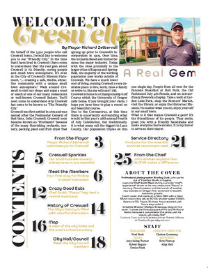 Contents page inside Creswell's Newcomers magazine