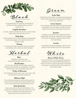 Tea menu design for Blue Valley Bistro
