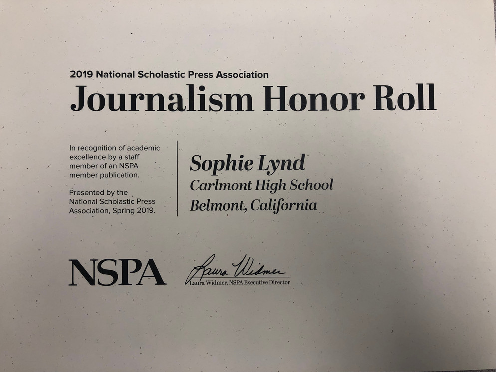 Sophie received Journalism Honor Roll for 2018 and 2019