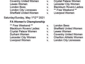 Women's Championship fixtures - part 4