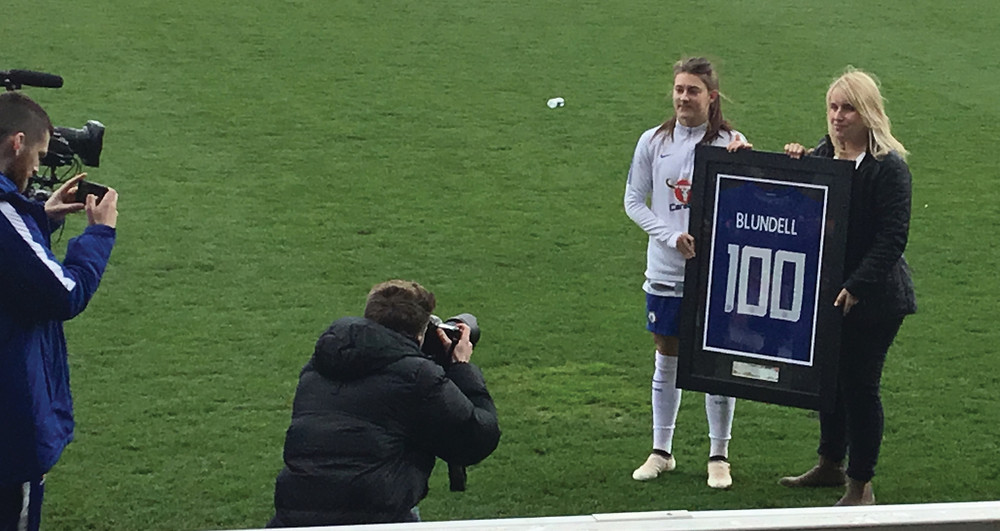 Hannah Blundell gets a commemorative shirt to celebrate her 100th appearance for the Blues in April 2018 Photo by Paul Lagan