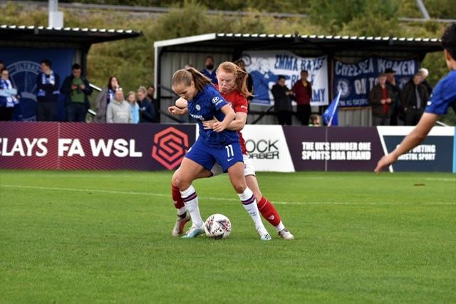 Guro Reiten in action against Bristol City Women. Photo: Helen Warwick Photography
