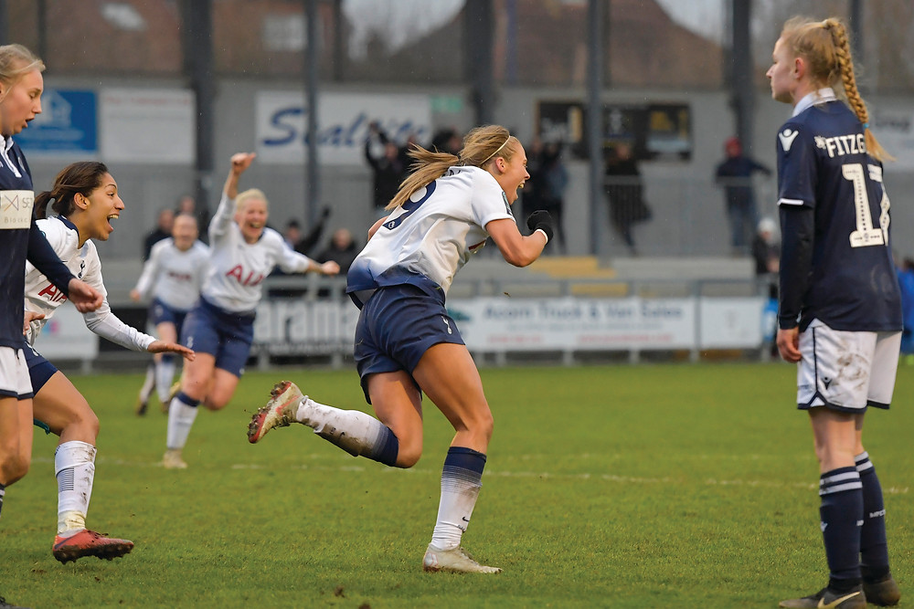 Rianna Dean score the winner against Millwall Lionesses. Photo: Wu's Photography