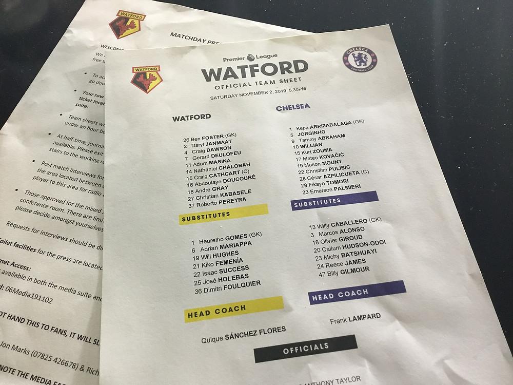 Watford 1 v Chelsea 2 Photo by Paul Lagan