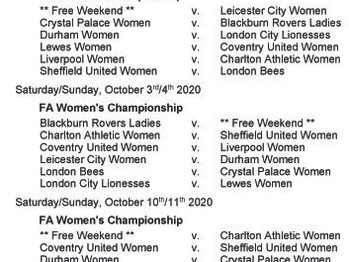 Women's Championship fixtures - Part 1