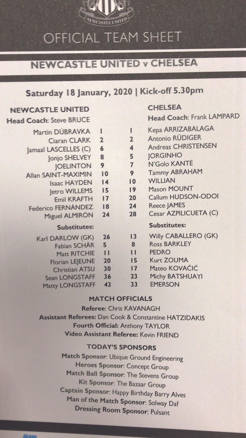 Newcastle Utd 1 v Chelsea 0