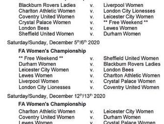 Women's Championship fixtures - Part 2