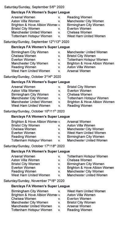The WSL1 season fixtures