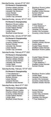 Women's Championship fixtures - Part 3