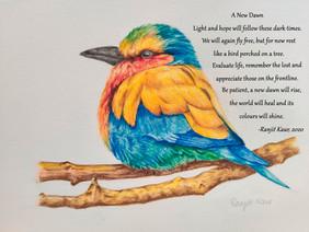 Bird with poem