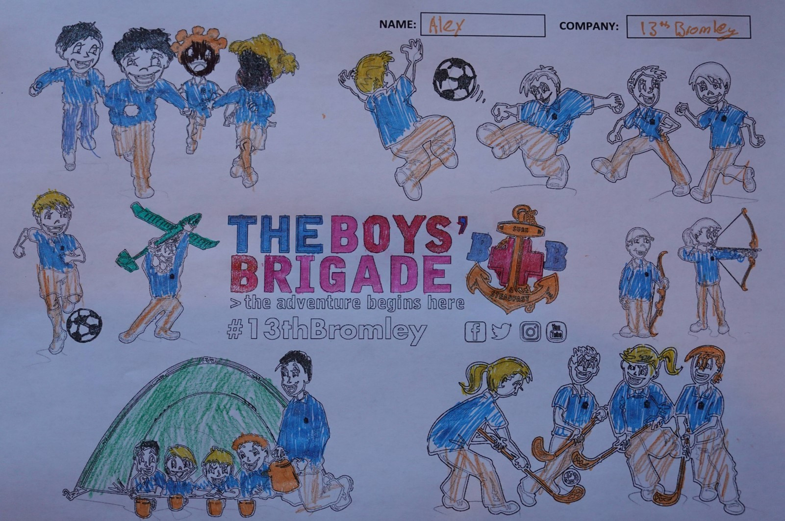 13th Bromley Boys' Brigade Colouring 11.