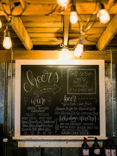 wedding bar menu chalkboard