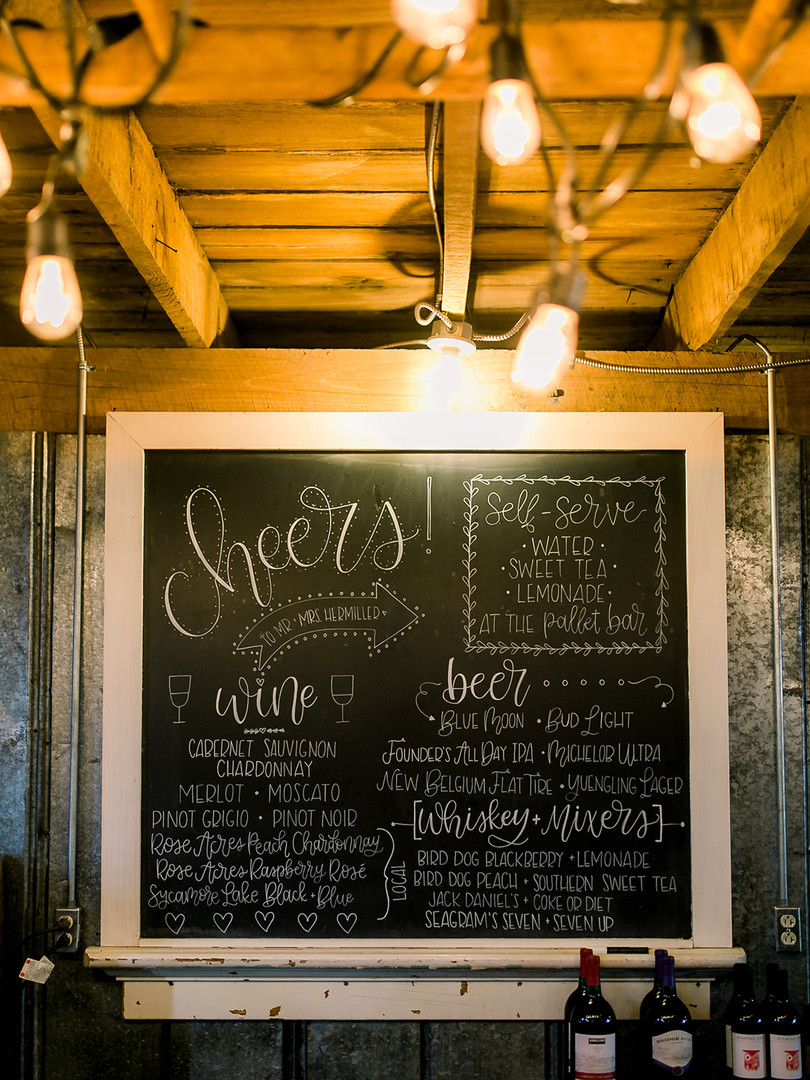 wedding bar menu chalkboard ohio calligraphy