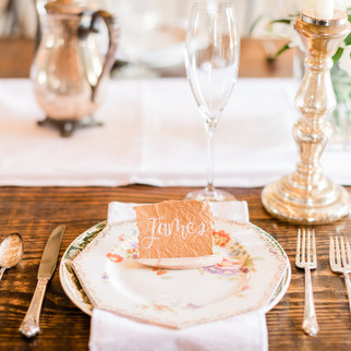 Place card & table setting ohio calligraphy