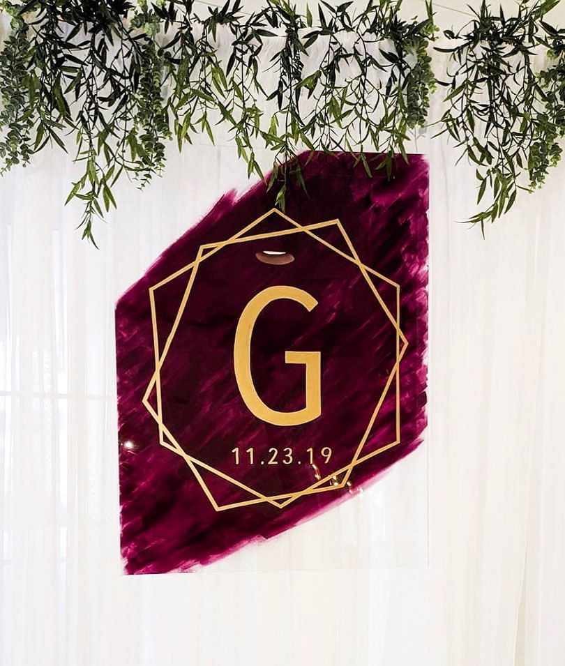 wedding backdrop acrylic monogram ohio calligraphy