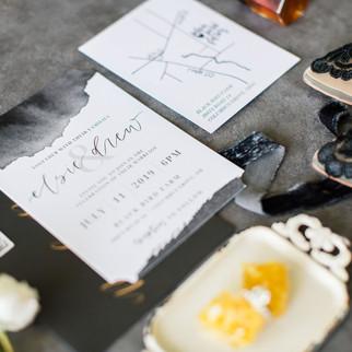 black wedding invitation stationery ohio calligraphy