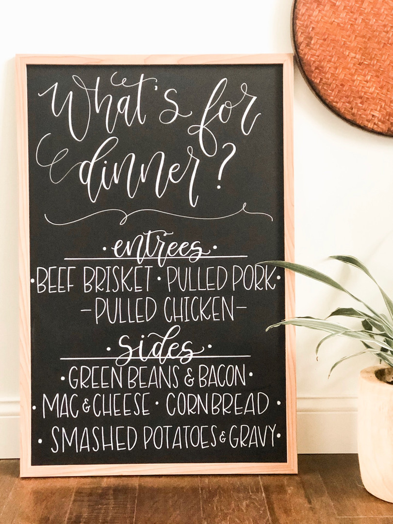 wedding dinner menu chalkboard ohio calligraphy