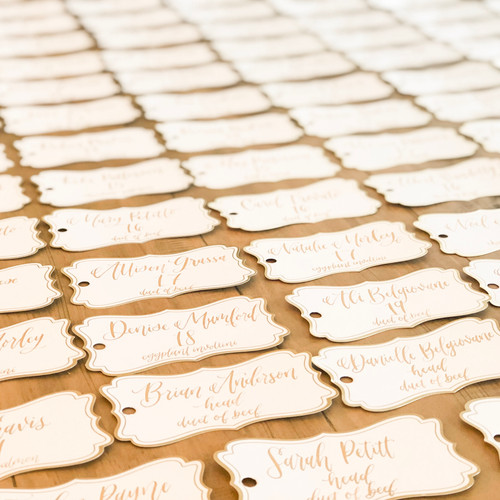 Place cards tags with gold ink